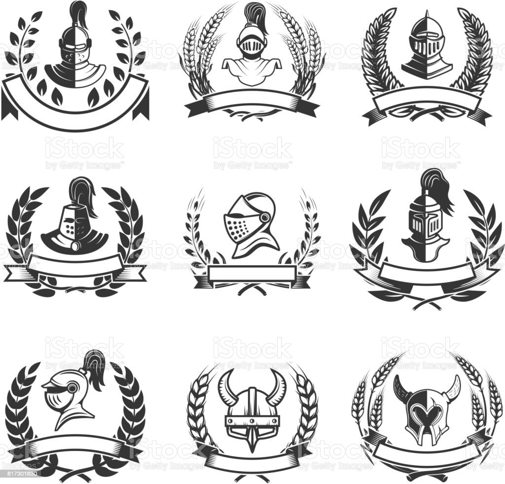Set of the emblems with knights helmets and swords. Design elements for label, badge, sign. Vector illustration