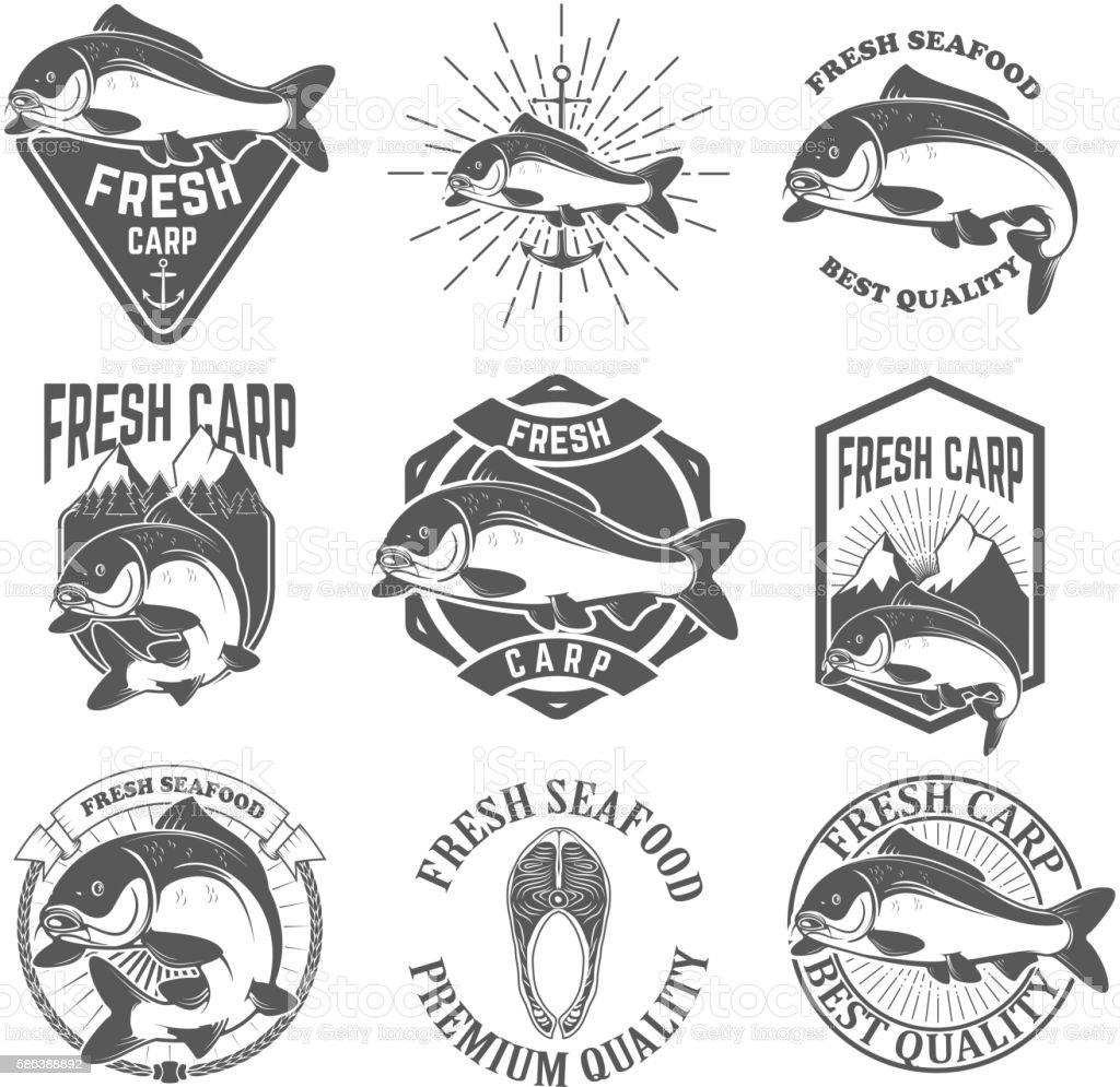 Set of the fresh carp labels, emblems and design elements. vector art illustration
