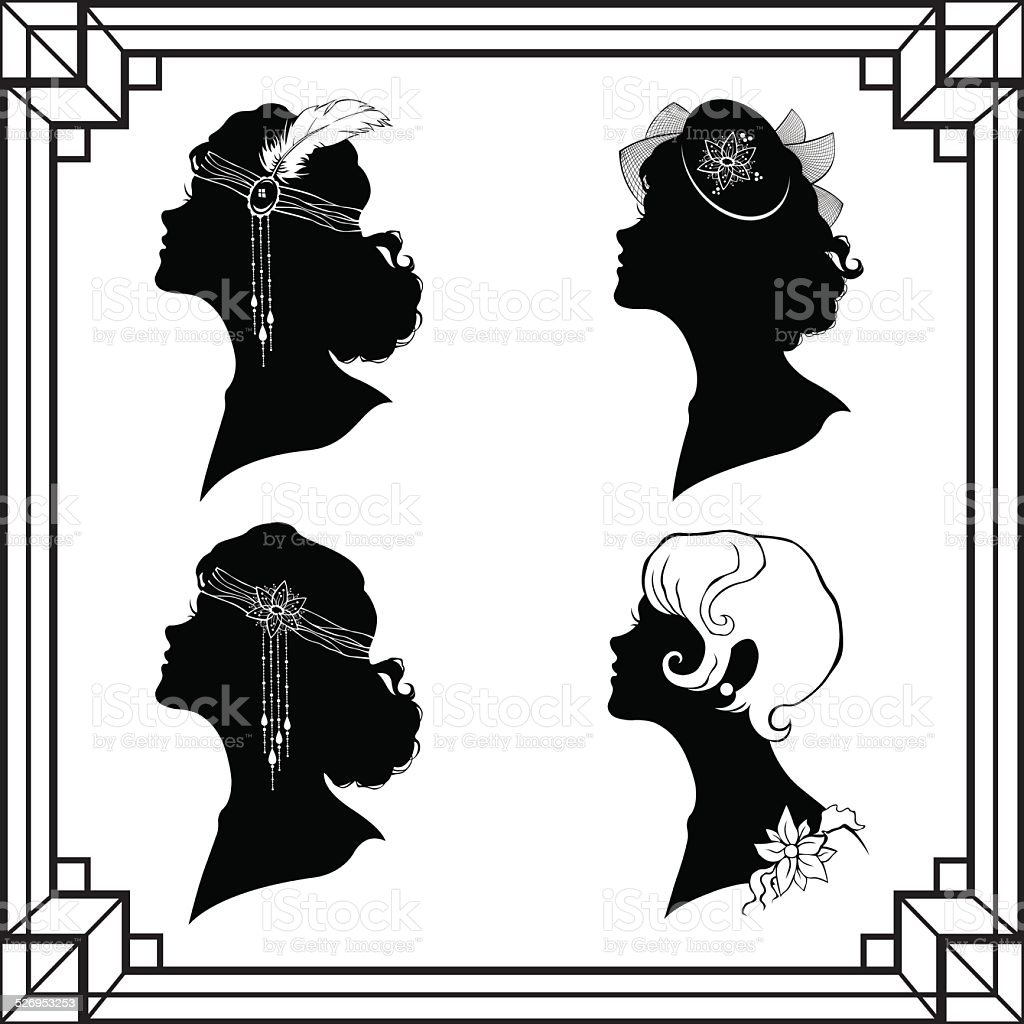 Set of the girl`s silhouette in retro style vector art illustration