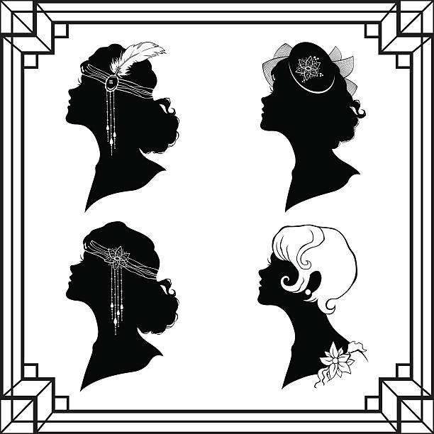 Set of the girl`s silhouette in retro style vector art illustration
