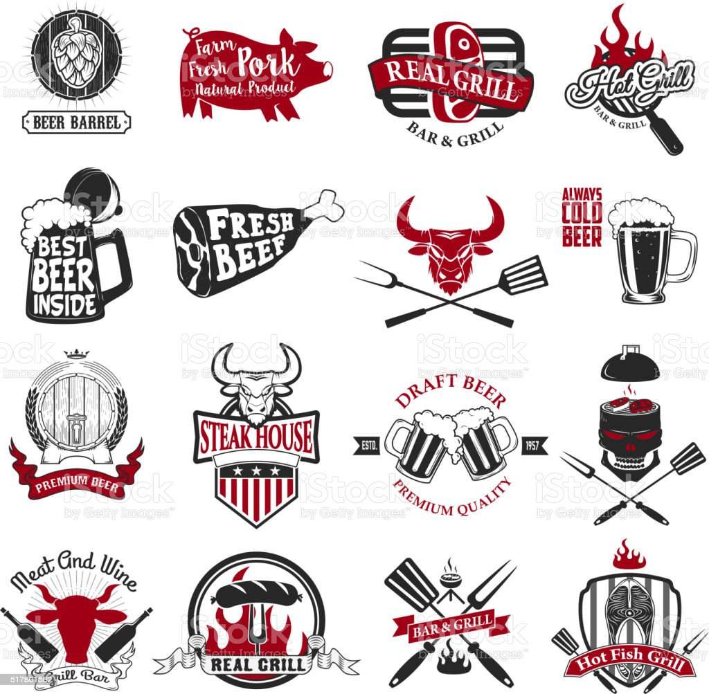 Set of the grill, barbecue, fresh beer, steak house vector art illustration