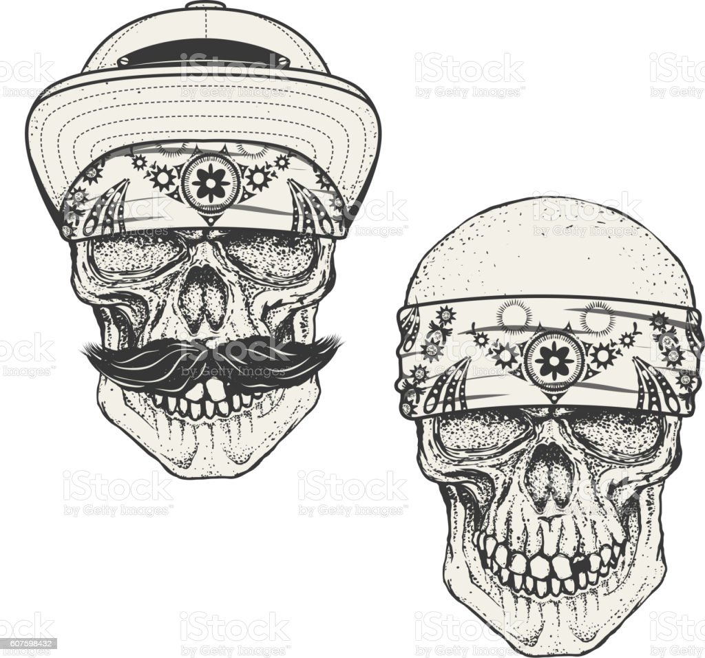Set of the human skulls in bandana and cap. Gangster vector art illustration