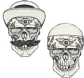 Set of the human skulls in bandana and cap. Gangster