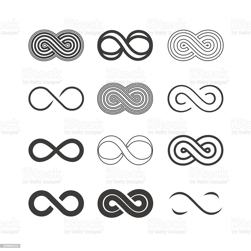 Set of the infinity symbols vector art illustration