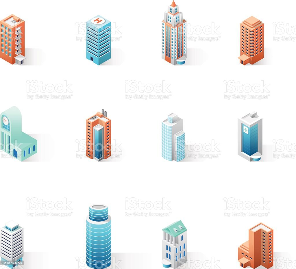 Set of the isometric city buildings vector art illustration