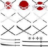 Set of the katana swords.