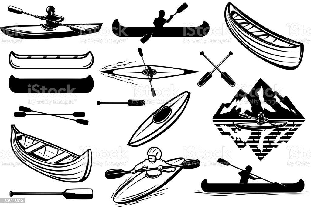 Set of the kayaking sport icons. Canoe, boats, oarsmans. Design elements for label, emblem, sign. Vector illustration vector art illustration