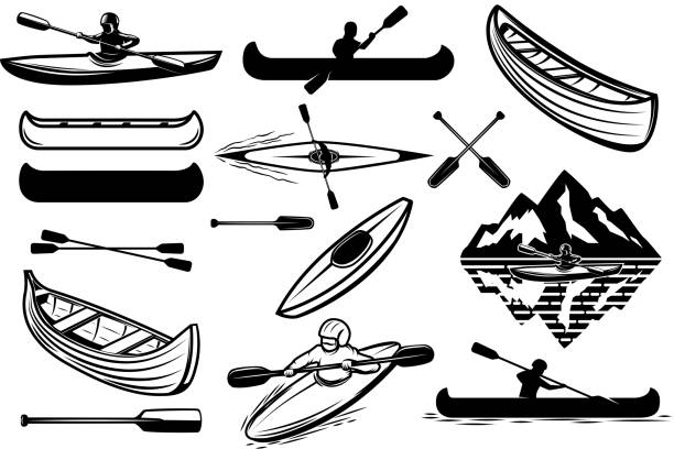 set of the kayaking sport icons. canoe, boats, oarsmans. design elements for label, emblem, sign. vector illustration - kayaking stock illustrations, clip art, cartoons, & icons
