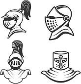 set of the knight helmets isolated on white background. Design elements for logo, label, emblem, sign, brand mark. Vector illustration