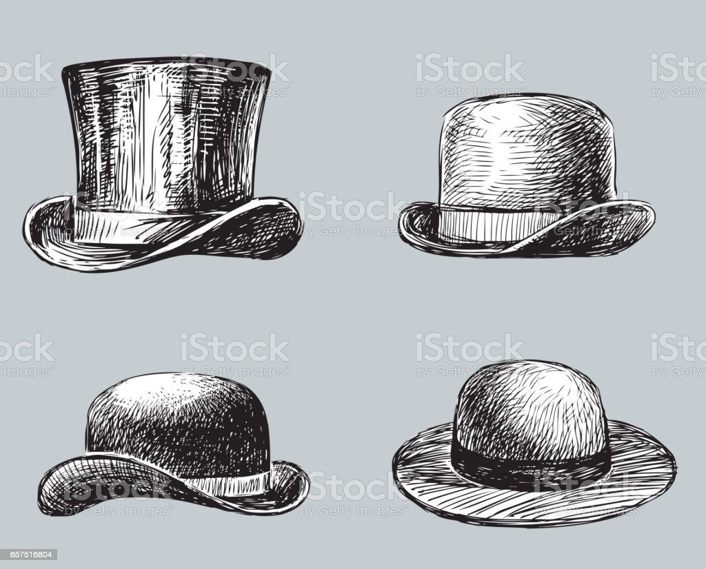 set of the male and female headdresses vector art illustration