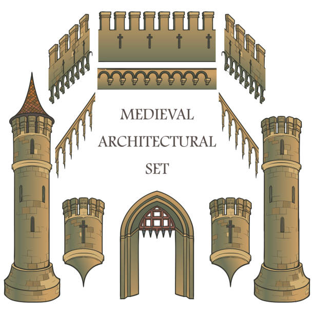stockillustraties, clipart, cartoons en iconen met set van de architectonische elementen van het middeleeuwse kasteel. defencive structuren. torens, kantelen, poorten. ontwerpers kit. - versterkte muur