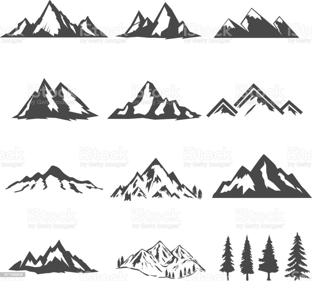 set of the mountains illustrations isolated on white background. Design elements for icon, label, emblem, sign, brand mark.