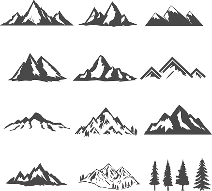 set of the mountains illustrations isolated on white background. Design elements for icon, label, emblem, sign, brand mark. clipart