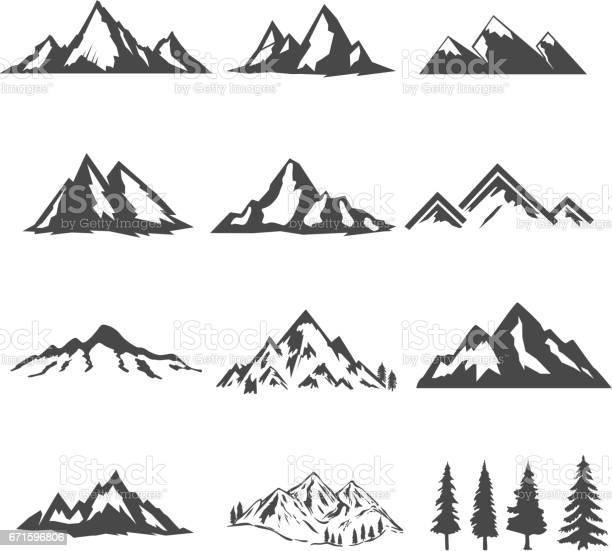 set of the mountains illustrations isolated on white background. Design elements for icon, label, emblem, sign, brand mark. Vector illustration.