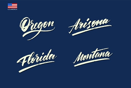 Set of the names of the states of America written with a brush.