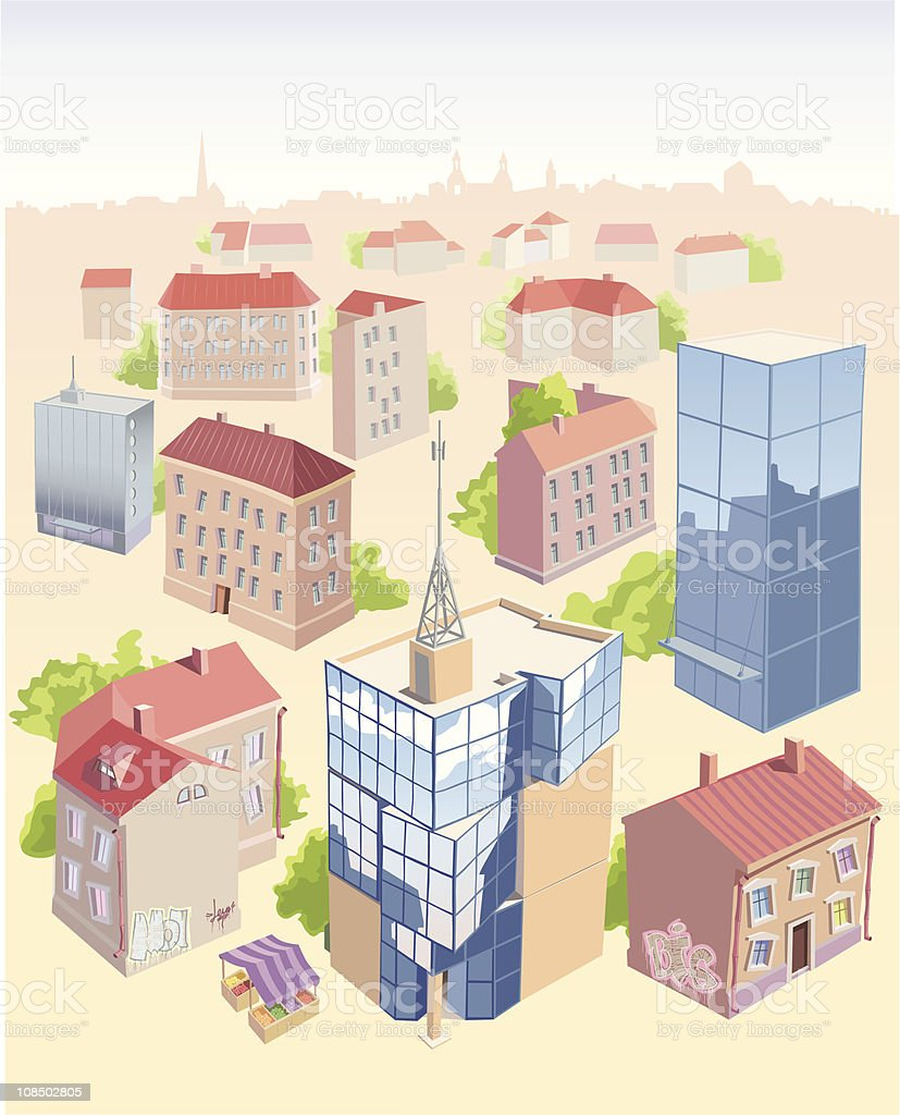 Set of the old and new city buildings vector art illustration