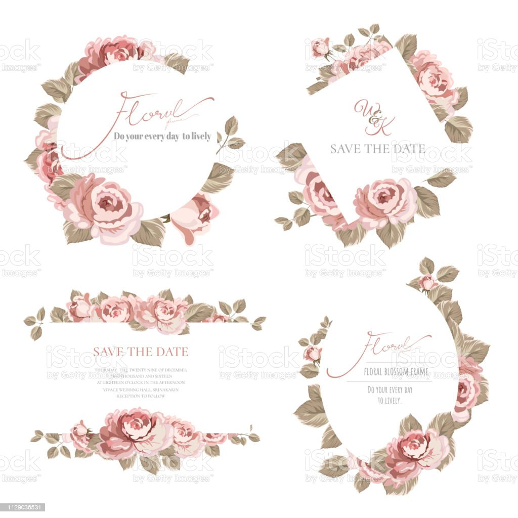 Set of the pink rose frame.