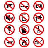 Set of the prohibition signs icons on the white background