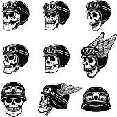Set of the racer skulls isolated on white background. Skull in biker helmet. Design element for poster, emblem, t shirt. Vector illustration