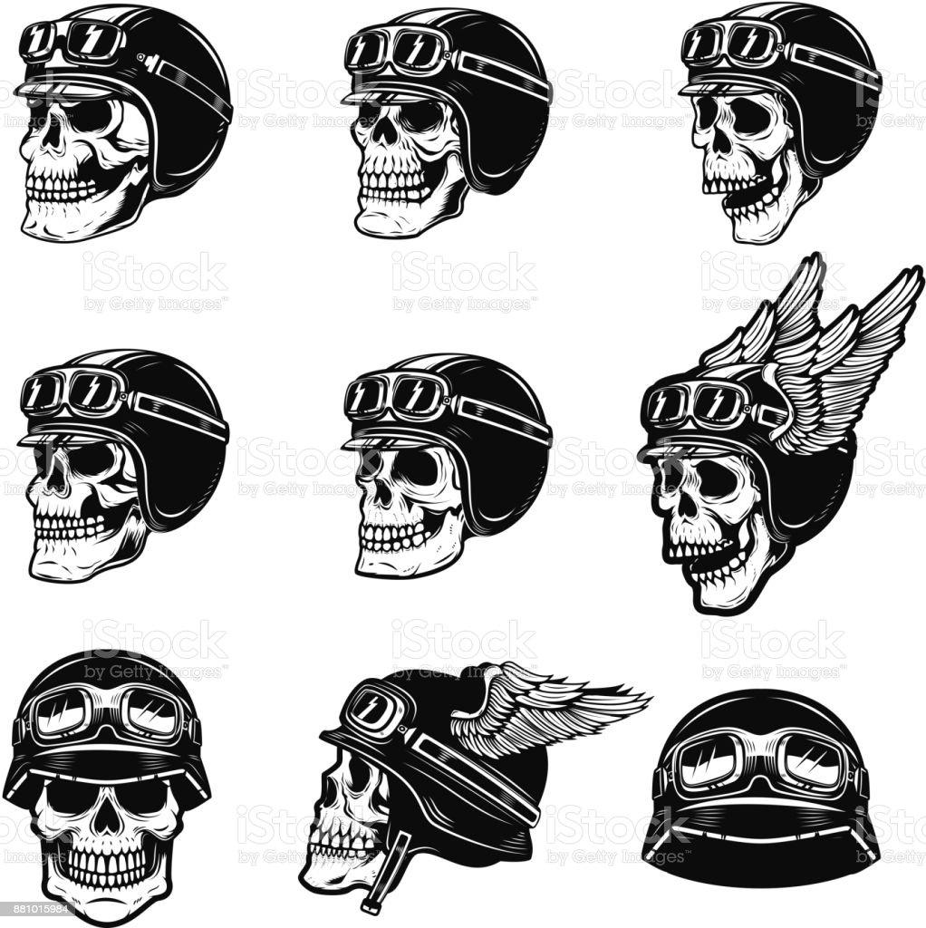 Set of the racer skulls isolated on white background. Skull in biker helmet. Design element for poster, emblem, t shirt. Vector illustration vector art illustration