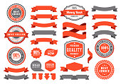 vector illustration of the badges and ribbons set.