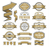 Vector illustration of the set of the ribbons and badges.