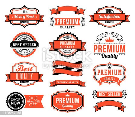 Vector illustration of of the ribbons and badges set