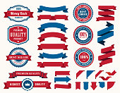 Vctor illustration of the set ribbons and badges in blue and red colors
