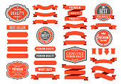 Vector illustration of the red and gray ribbons and badges