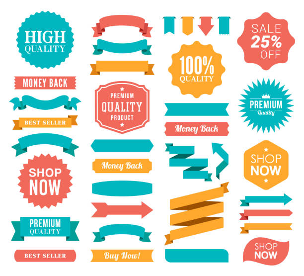 Set of the Ribbons and Badges Vector illustration of the badges and ribbons. ribbon sewing item stock illustrations