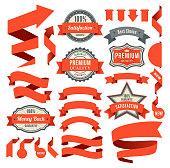 Vector illustraion of the red ribbons and badges.
