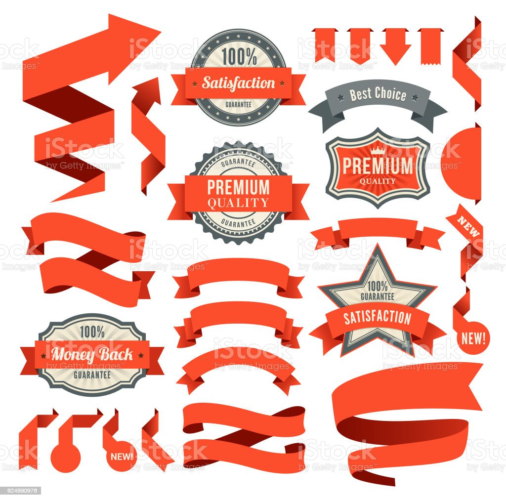 Set of the Ribbons and Badges vector art illustration