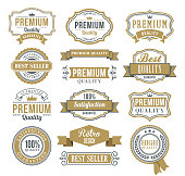 Vector illustration of the ribbons and badges