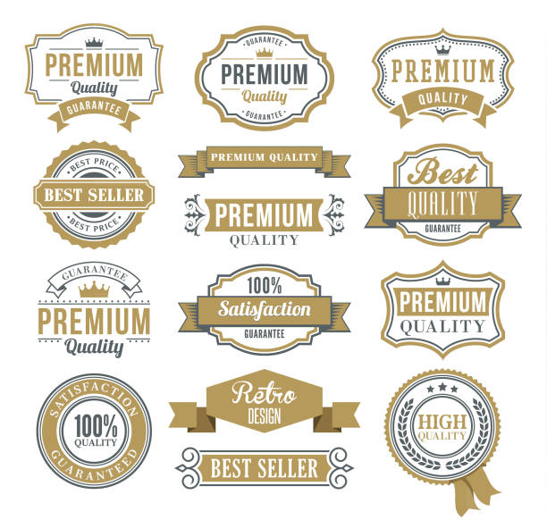 set of the ribbons and badges - retro and vintage frames stock illustrations, clip art, cartoons, & icons