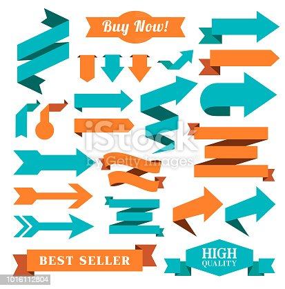 Vector illustration of the set of the ribbons, badges or arrow