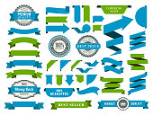 Vector illustration of the green and blue ribbons.