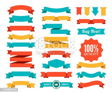Vector illustration of the badges and ribbons.