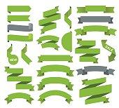 Vector illustraion of the green ribbons set.