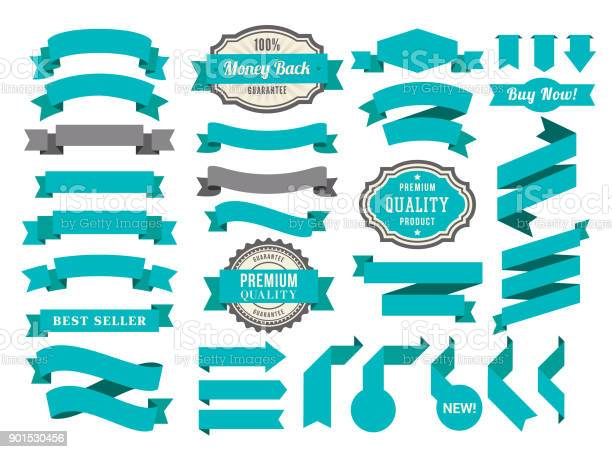 Vector illustraion of the blue ribbons set.