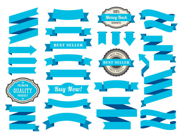 set of the ribbons - ribbon sewing item stock illustrations