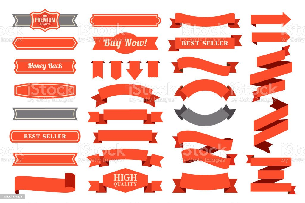 Set of the Ribbons vector art illustration