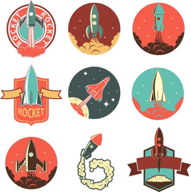 ein satz von der rakete label - erforschung des weltalls stock-grafiken, -clipart, -cartoons und -symbole
