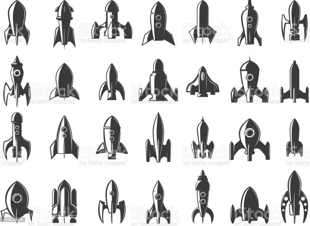 Set of the rockets icons on white background. Start up. Design element for  label, emblem, sign. Vector illustration.