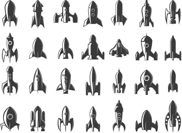 stockillustraties, clipart, cartoons en iconen met instellen van de raketten pictogrammen op witte achtergrond. opstarten. ontwerpelement voor label, embleem, teken. vectorillustratie. - raket ruimteschip