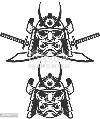 Set of the samurai mask with crossed swords isolated on white background. Design elements for label, emblem, sign, brand mark. Vector illustration.