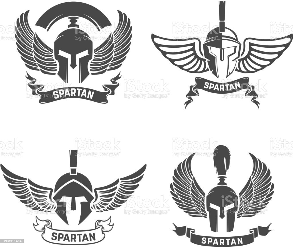 Set of the spartan helmets with wings. Design elements for royalty-free set of the spartan helmets with wings design elements for stock illustration - download image now