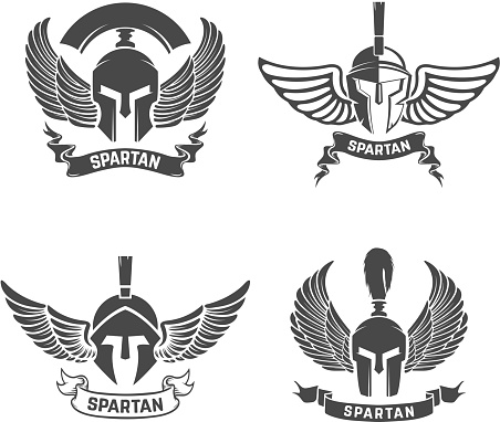 Set of the spartan helmets with wings. Design elements for