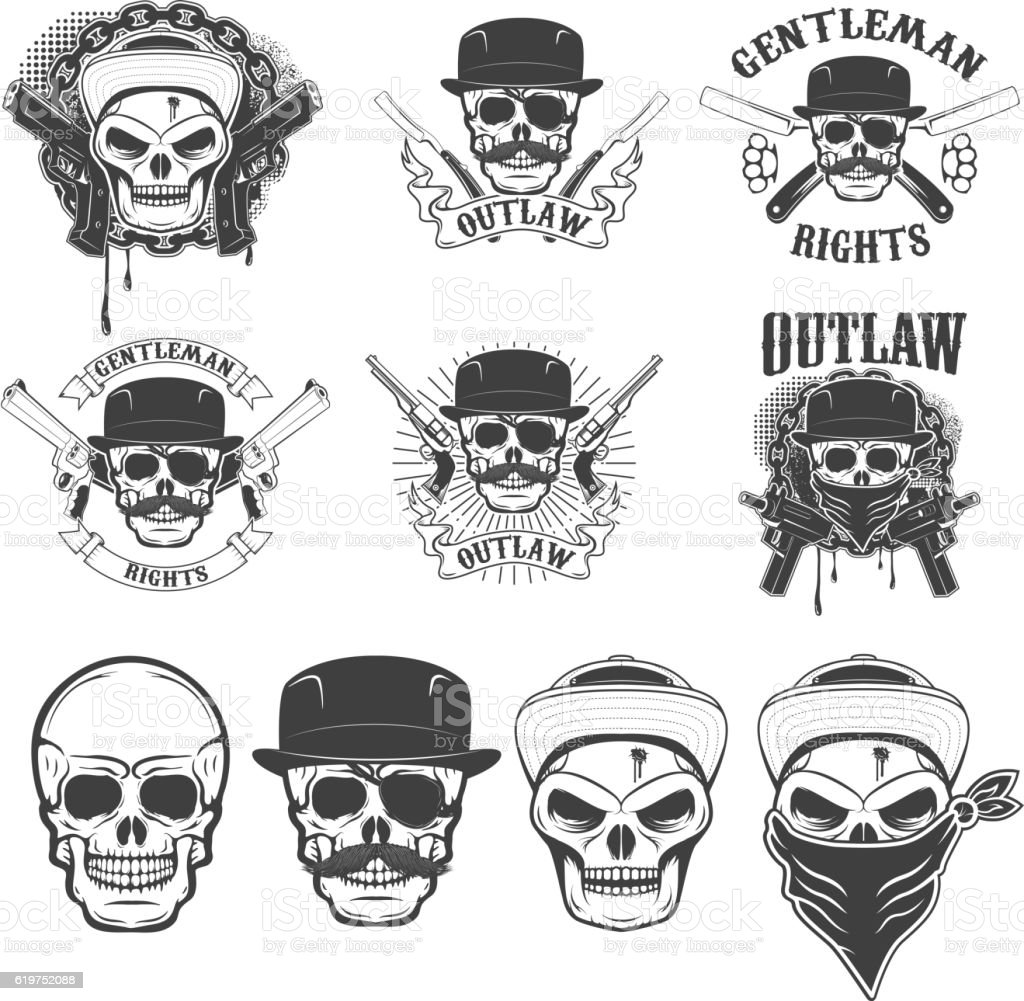 Set of the stickers with gangster skulls and weapon. vector art illustration
