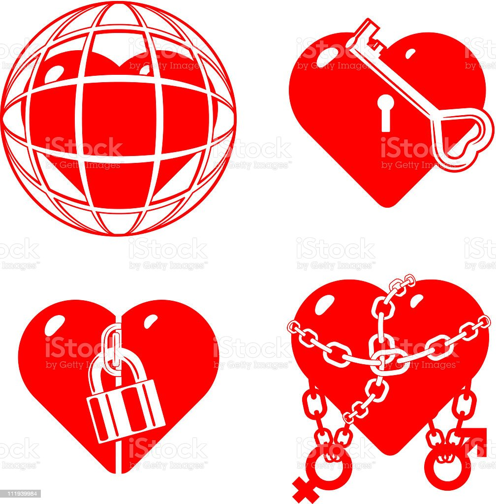 set of the stylised closed hearts royalty-free stock vector art