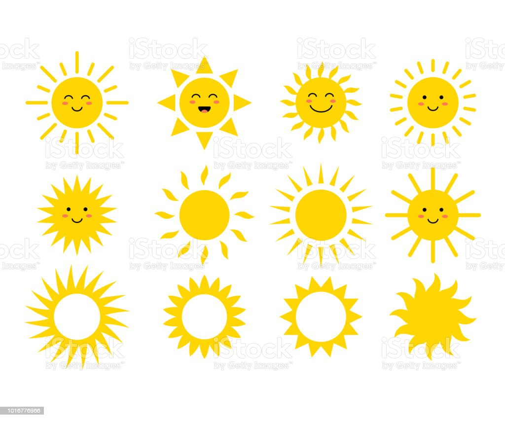 Set of the suns. Cute suns. Yellow faces. Emoji. Summer emoticons. Vector illustration Set of the suns. Cute suns. Yellow faces. Emoji. Summer emoticons. Vector illustration isoalted on white background. Abstract stock vector